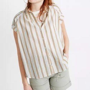 Madewell bronze double stripe linen blend top